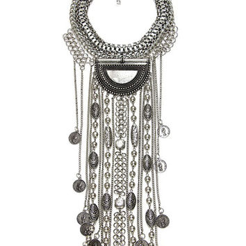 Boho Coin Fringed Statement Necklace   Two Colors