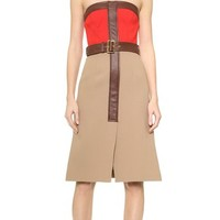 Derek Lam Strapless Colorblock Dress