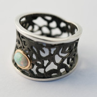 Handmade Opal Ring - Designer ring-Filigree ring- oxidized Silver, Gold- Lace Collection