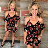 Thoughts of Us Black Floral Romper