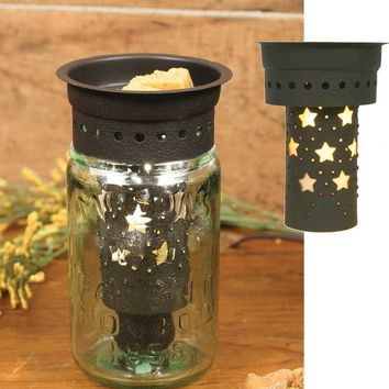 Set of 4 Punched Stars Pint Mason Jar Wax Warmer Kit - Brown
