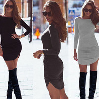 Irregular Long Sleeve Women's Fashion One Piece Dress [6368737348]