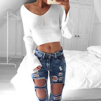 Winter Long Sleeve V-neck Tops Sexy Crop Top Sweater [9605210959]