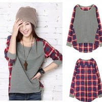 Fashion Style New Women Loose Cotton Plaid Long Sleeve Blouse Tops T-shirt S M L (S)