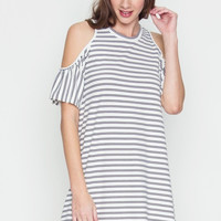 Black Stripe Cold Shoulder Shift Dress