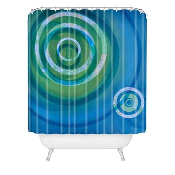 Stacey Schultz Circle Maps Blue Green Shower Curtain