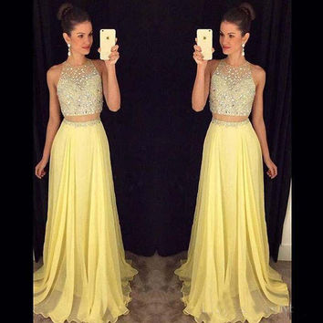 New Floor-length Two Piece Prom Dresses 2017 Sleeveless A-Line Chiffon Beading Prom Dress Vestidos De Festa
