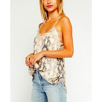 Final Sale - Olivaceous - Snake Print Lace Trim Racerback Tank Top