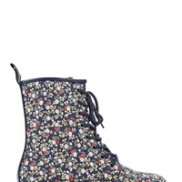Lace Up Combat Boot with Small Floral Print