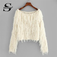 Sheinside Apricot Loose Knit Fuzzy Fringe Casual Sweater Solid Long Sleeve Winter Jumper Women Clothes 2018 Autumn Pullover