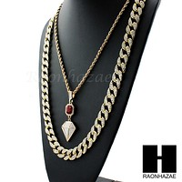"""LAB DIAMOND SHAPE 30"""" CUBAN LINK CHAIN RED RUBY COMBO NECKLACE SET05"""