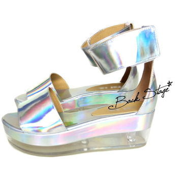 Limited Edition - Hologram Holographic Metallic Mirrors Transparent Clear Heels Sandals Shoes