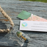 Hemp Necklace with Glass Blown Mushroom Pendant
