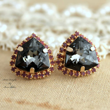 Black diamond purple Rhinestone Crystal stud earring bridesmaids gifts bridal earrings - 14k 1 micron Thick plated gold Swarovski earrings.