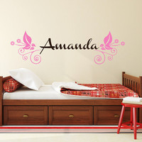 Girl Name Wall Decal Custom Personalized Girls Name Decor Vinyl Decal Kids Teens Girls Room Wall Decal Nursery T119