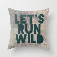 Let's Run Wild (Vintage Map) Throw Pillow by Leah Flores