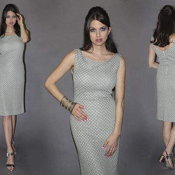 Vintage 60s Silver Metallic Dress / MOD, Space Age Shift Dress / Party Dress, Bodycon / Lurex Sleeveless Dress / Sm Med