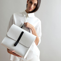 Caity Rucksack in White by Danielle Foster