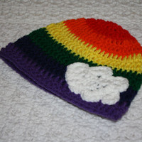 Rainbow and cloud Baby Hat Girl Beanie Babys first winter Baby Shower