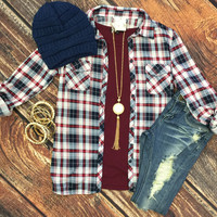 Penny Plaid Flannel Top: White/Burgundy