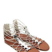 Bamboo Relaxed Gladiator Silver Sandals