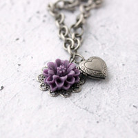 Brushed Silver Charm Bracelet with Tiny Heart Locket and Purple Flower