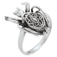 Secret Compartment Sterling Silver Spider Ring