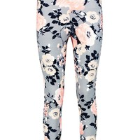 Gianna Pastel Floral Skinny Crepe Trousers