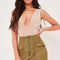 miranda khaki suede lace up mini skirt
