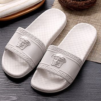 Versace bathroom slippers for men and women at the end of indoor non-slip bath home slippers couple slippers
