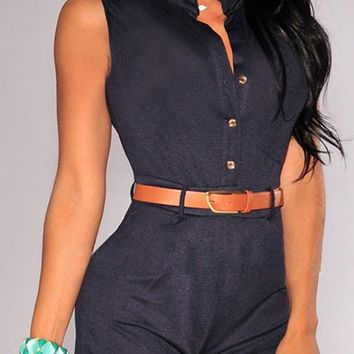 Stand Neck Single-Breasted Playsuit With Belt