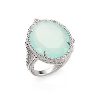 Seafoam Chalcedony, White Sapphire and Sterling Silver Ring