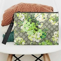 Gucci Fashion Women Handbag Colorful Floral Wrist Bag Makeup bag Green