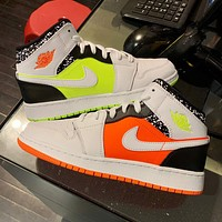 Bunchsun Air Jordan 1 Couples Candy Mandarin Duck Leisure Sports Basketball Shoes