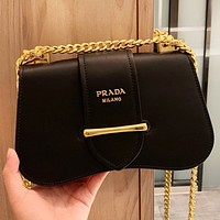 Prada New Fashion Leather Chain Shoulder Bag Crossbody Bag Black
