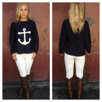 Navy Anchor Knit Sweater