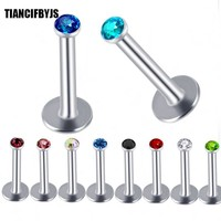 TIANCIFBYJS  BODY PIERCING BAR LIP RING STUD 6/8/10mm Lip Pircings Ear Bone Piercings Labret Tragus Stud Helix Cartilage Nose