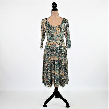 Full Skirt Dress Women Large 3/4 Sleeve Knit Dress Midi Camo Print Abstract High Waist Scoop Neck Fit and Flare Teal Beige Womens Clothing