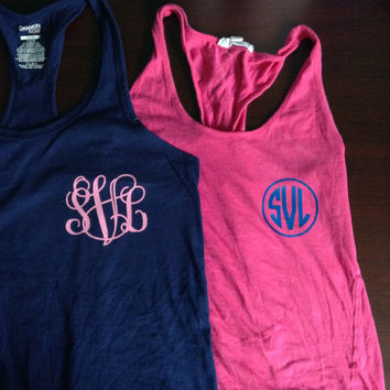 """Iron-on Monogram or Greek Letters for Shirts or Tank Tops 3"""" and 4"""""""