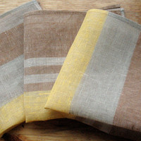 "Linen Napkin Square Rustic Gray Brown Beige in Stripes set of 3 size 15"" x 15"" Classic style"
