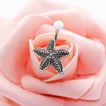 Belly button ring,Starfish belly ring,Starfish belly button jewelry