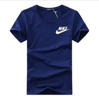 ONETOW Nike large short-sleeved T-shirt Korean round neck half-sleeved cotton leisure sports youth T-shirt  Blue