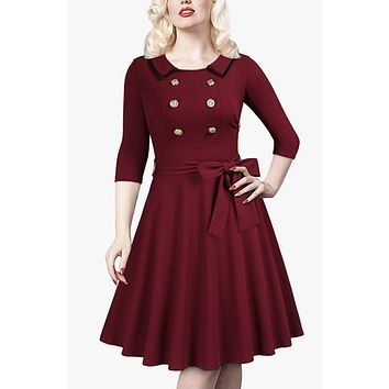 Retro Styled Burgundy Evening Dress, Sizes Medium - XLarge (US Sizes 8 - 16)