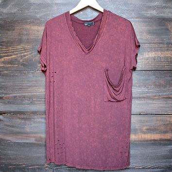 Final Sale - Oversized Distressed Vintage Acid Washed Tee in Burgundy