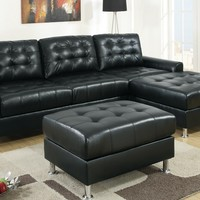 2 pc Reversible Black bonded leather sectional sofa with chaise lounge with chrome legs and tufted back and seats