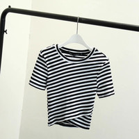 Stylish Summer Short Sleeve Round-neck Stripes T-shirts [4997909892]