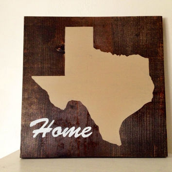 Texas Wood Sign, Stained and Hand Painted