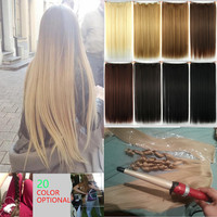 "24"" 60cm Synthetic  Full Head Clip In Hair Extension Straight Hairpiece Halloweek Hair extension High Quality"