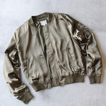 Lightweight Satin Bomber Jacket in Olive