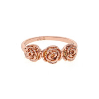 Dear Deer Rose Gold Triple Roses Floral Band Ring